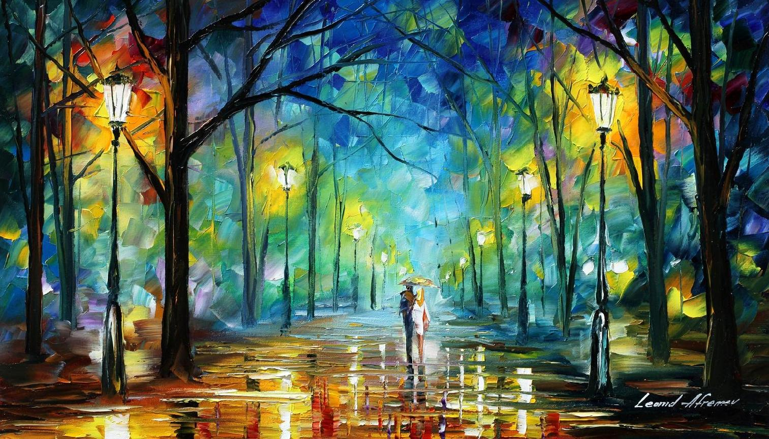 Leonid afremov the harlequin tea set for Best painting images
