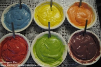 4. Do the same for the rest of the batters until you have a rainbow. Licking fingers is optional.