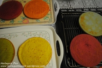 5. Bake in the oven in the baking tins. We used two tins and baked two at a time for 25 mins each. Leave to cool down.