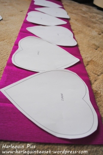 Position them on the tissue paper and cut out, double up the paper so that 1 template cuts out two pieces of crepe.