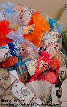 Goody bags with 'open me' and 'take me'