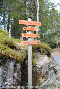 Signposts to different parts of the mountain