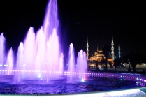 This was in the Old City centre of Istanbul, which was perfect for night-time walks. There's a park to sit and relax nearby, watch the changing colours of the fountain and enjoy the beautiful sounds of the mosques around us.