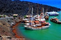 The Volcano Island, with sulphuric water and ships docked